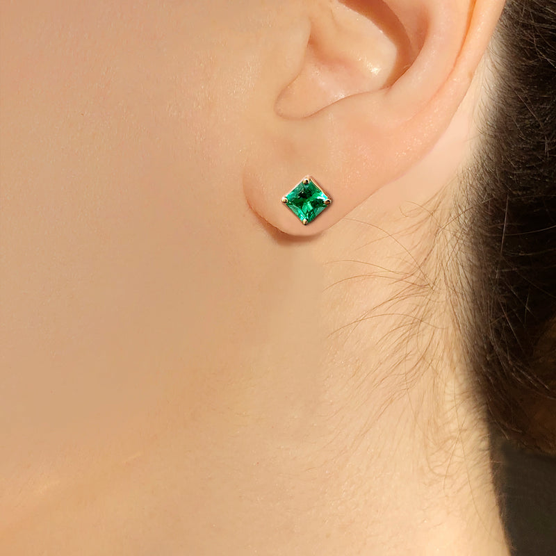 SQUARE EMERALD STUD EARRING