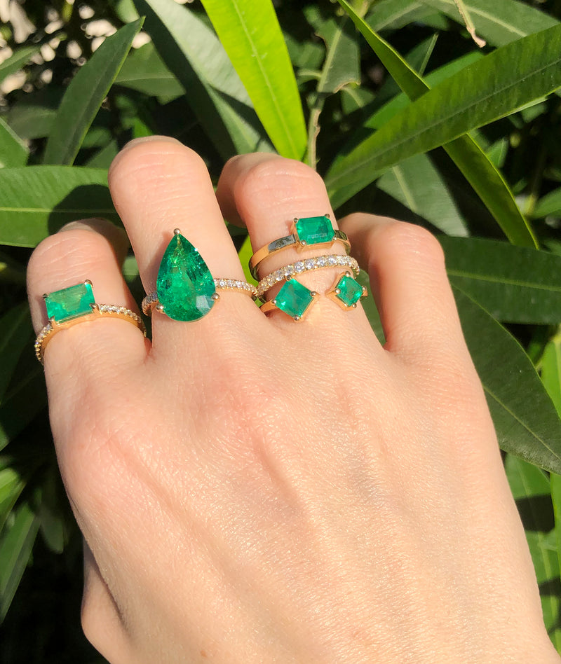 ONE OF A KIND PEAR EMERALD RING