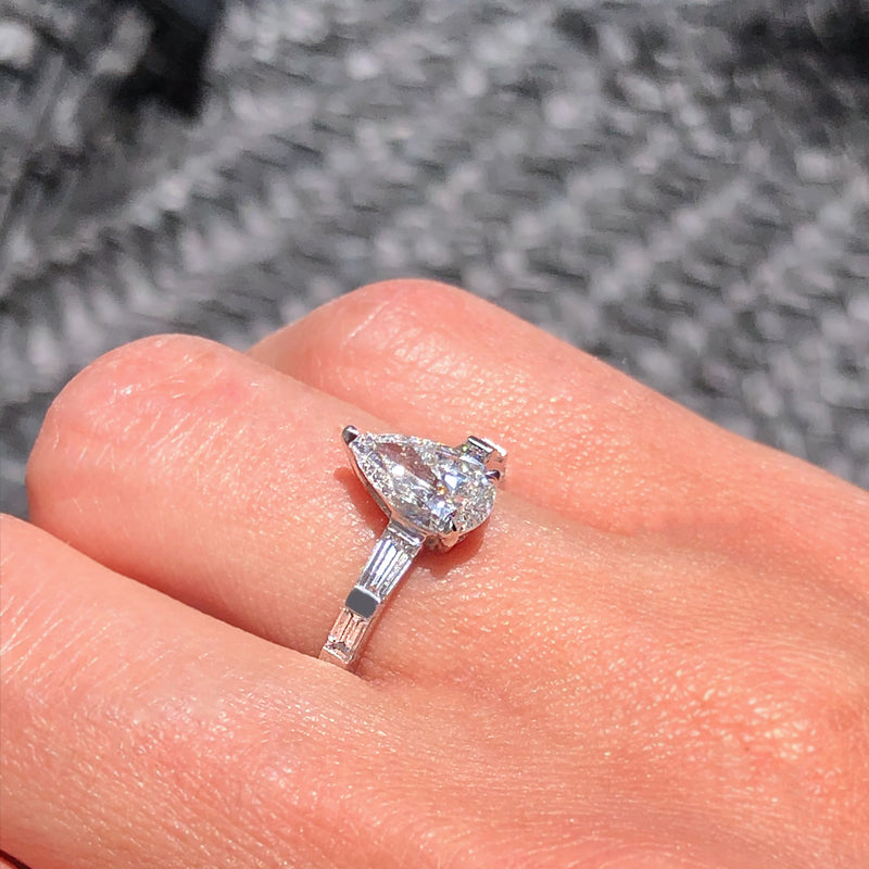 STEP UP LARGE PEAR DIAMOND RING