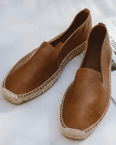 Men Espadrilles Leather Camel