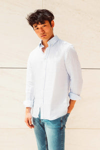 Men Linen Shirt - Light Blue Stripes