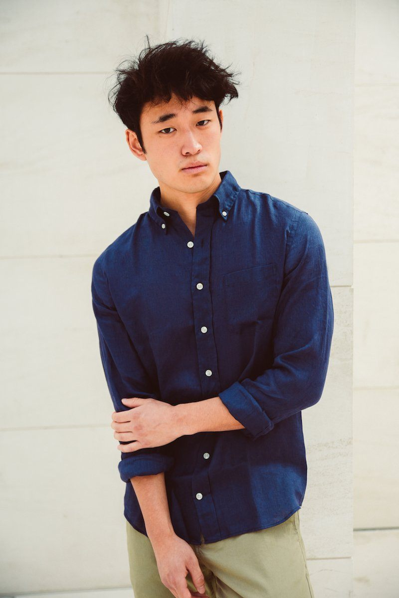 Men Linen Shirt - Navy