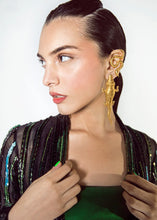 Load image into Gallery viewer, Gold plated alligator earrings