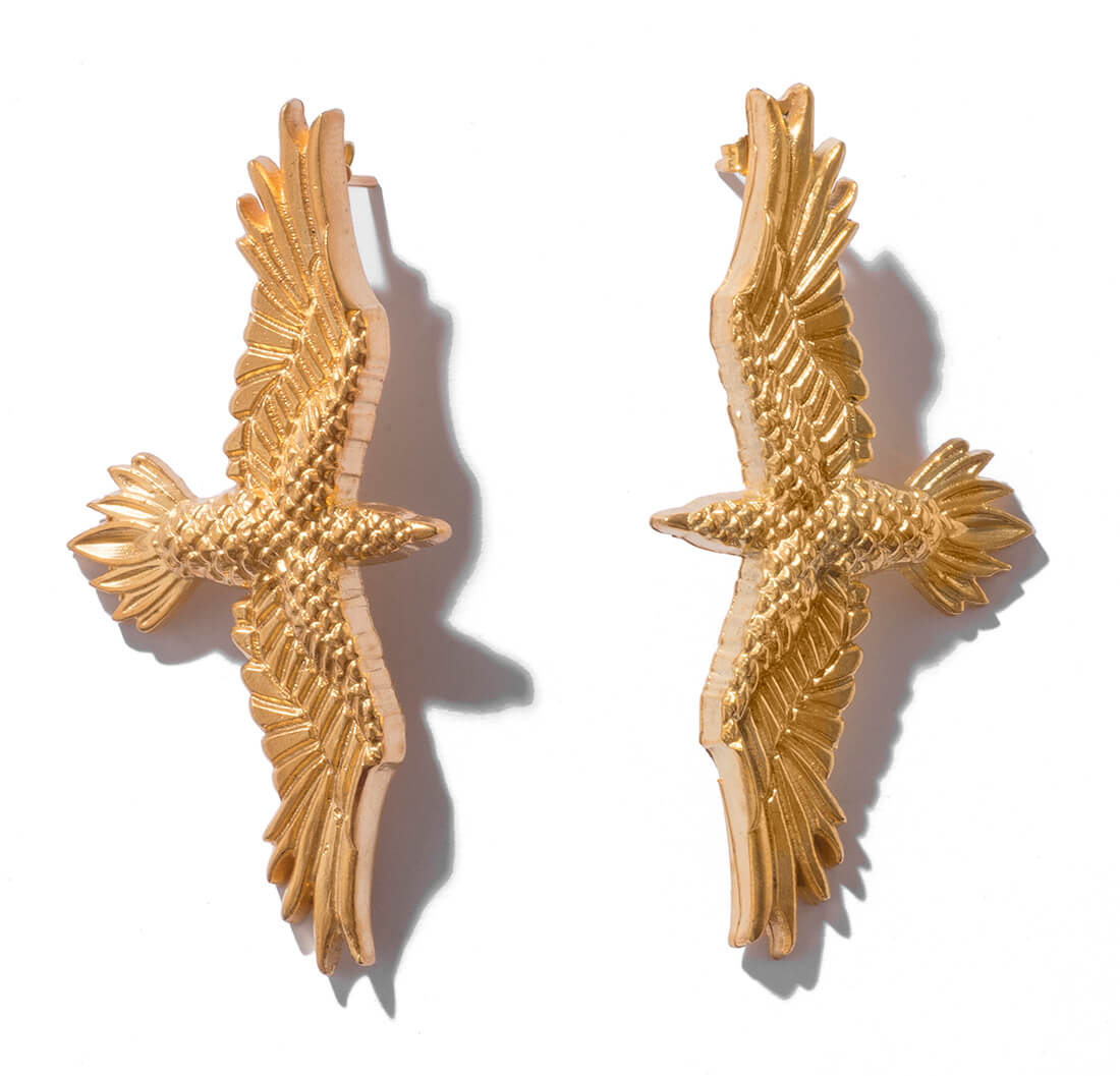 Gold plated bird earrings new