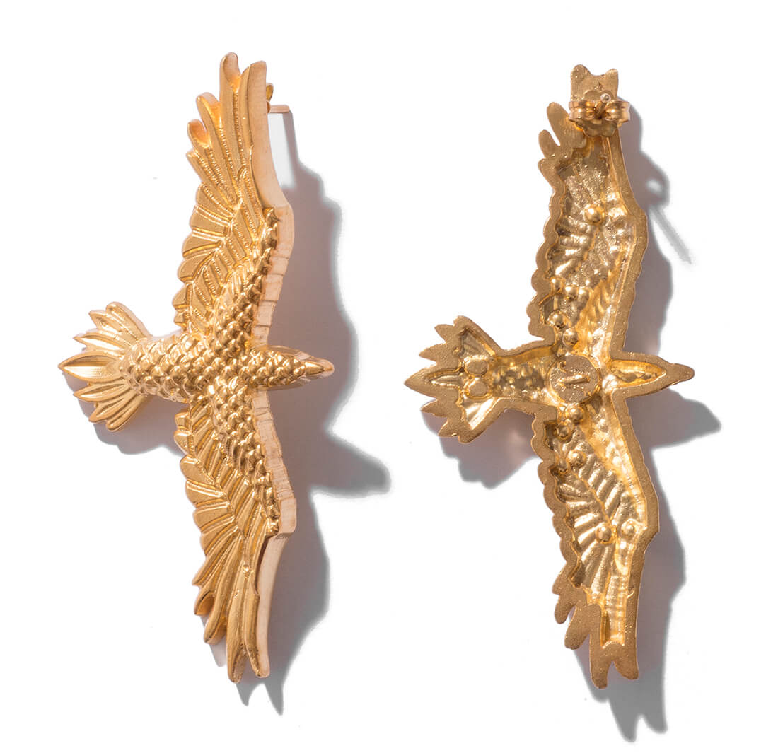 Gold plated bird earrings