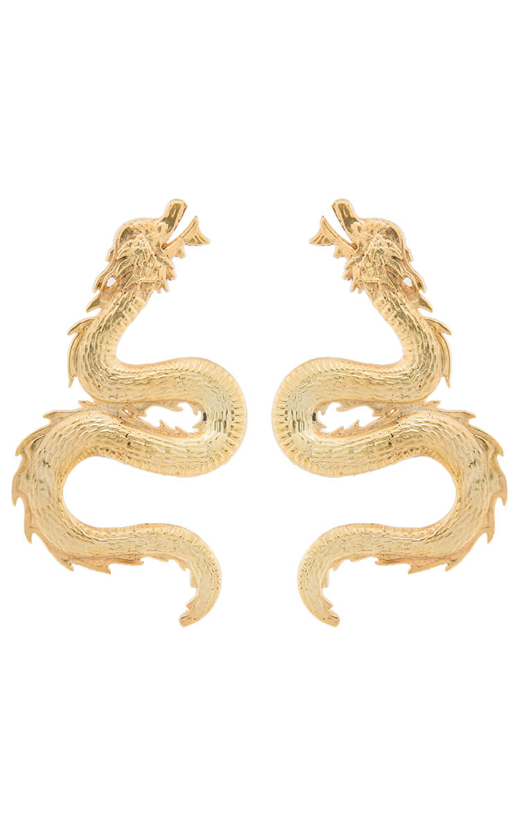 Gold plated dragon earrings