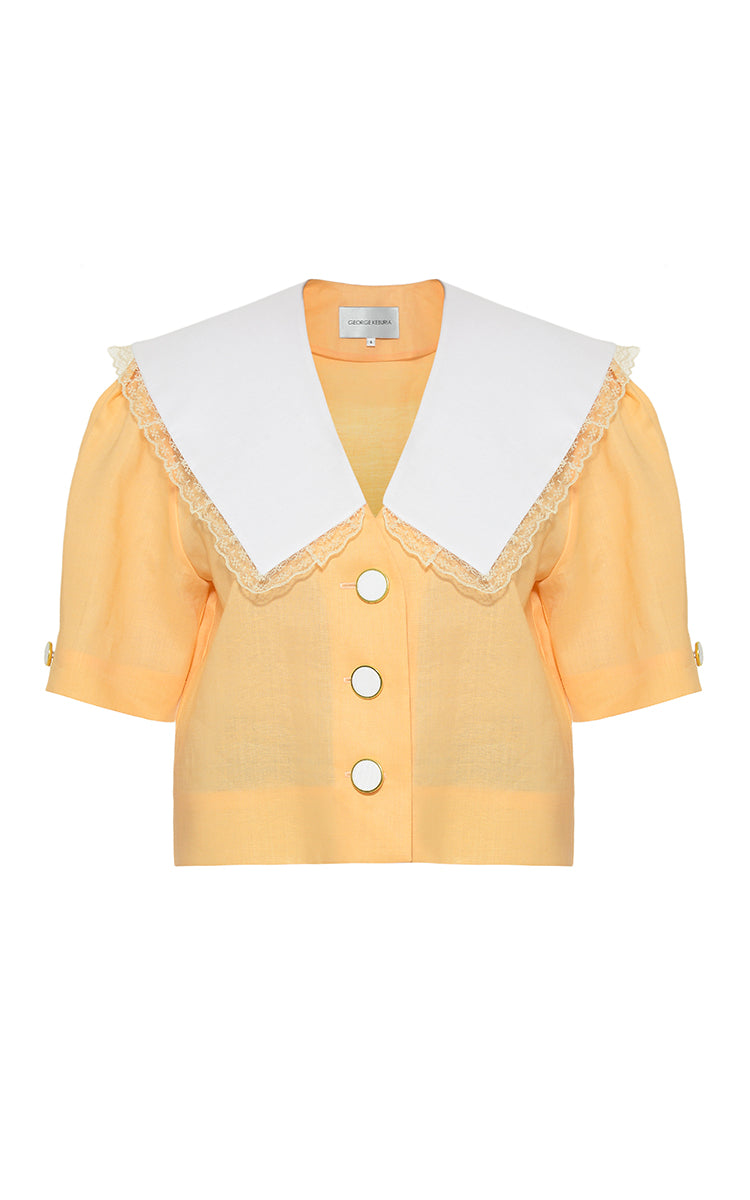 Blouse with oversized collar