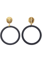 Load image into Gallery viewer, Gold plated lion head earrings