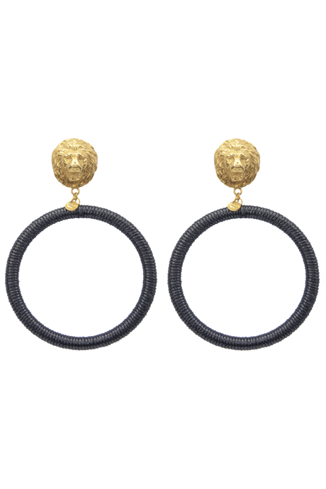 Gold plated lion head earrings