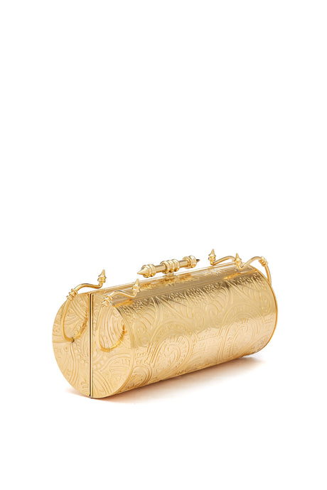 Felucca Embossed brass gold clutch