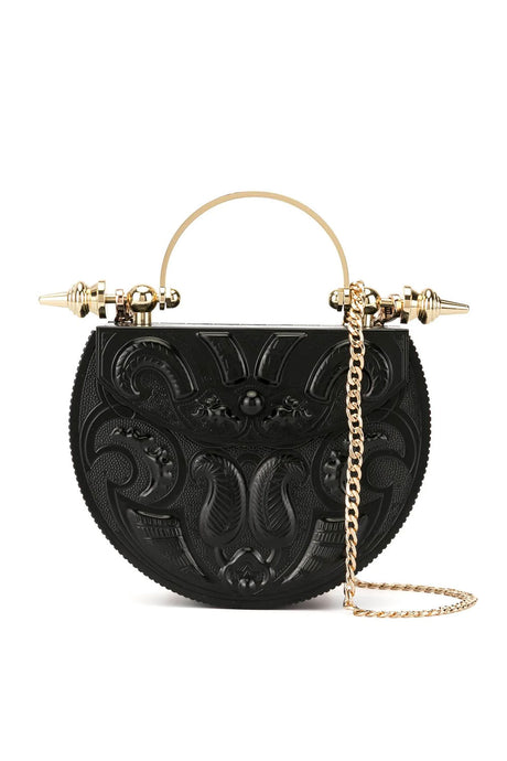 Oval Black Minaudière Embossed Mini Crossbody