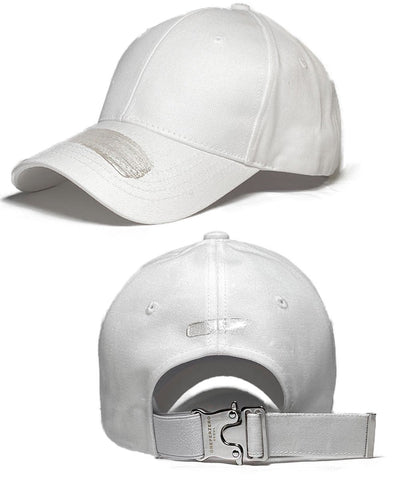 BRUSHED BUCKLE BALLCAP - Horizontal (White)