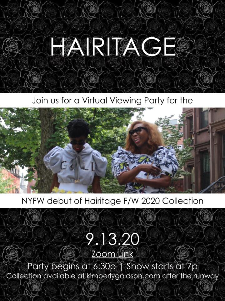 Kimberly Goldson F/W 2020 collection viewing party invitation