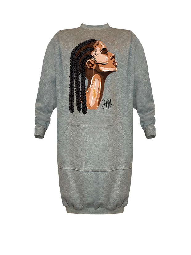STANDARD EDITION AMARA CORNROWS SWEATSHIRT DRESS