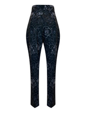 Back of black floral print high waist relaxed fit cropped pants