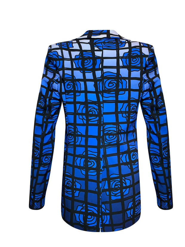 Back of blue floral and black checkered double breasted jacket
