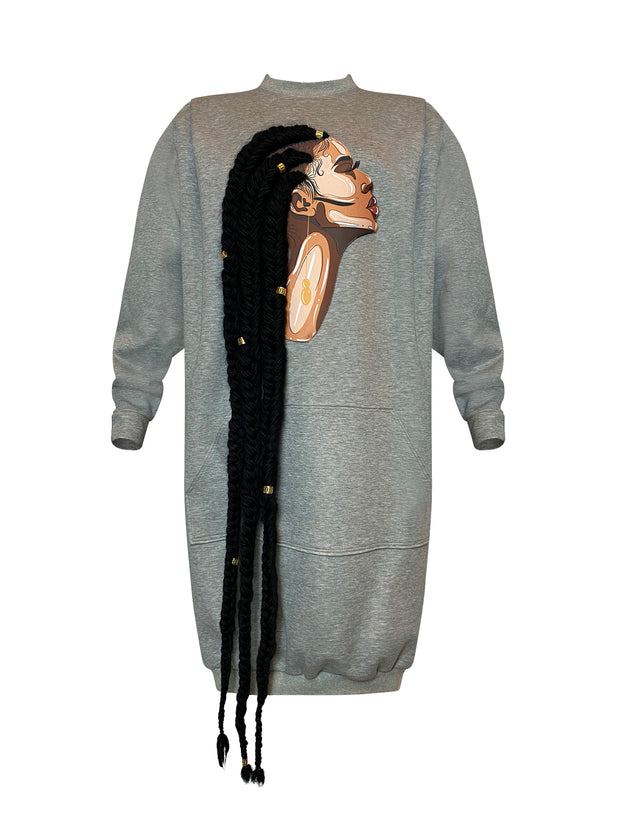 Front of heather grey sweatshirt dress featuring artwork by Taylor Ramsie of black woman with cornrows