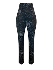 Front of black floral print high waist relaxed fit cropped pants