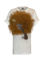 Front of white t-shirt featuring 3D version of Serena afro artwork by Taylor Ramsie
