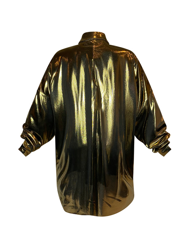 Back of oversized gold button down shirt