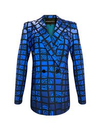 Front of blue floral and black checkered double breasted jacket