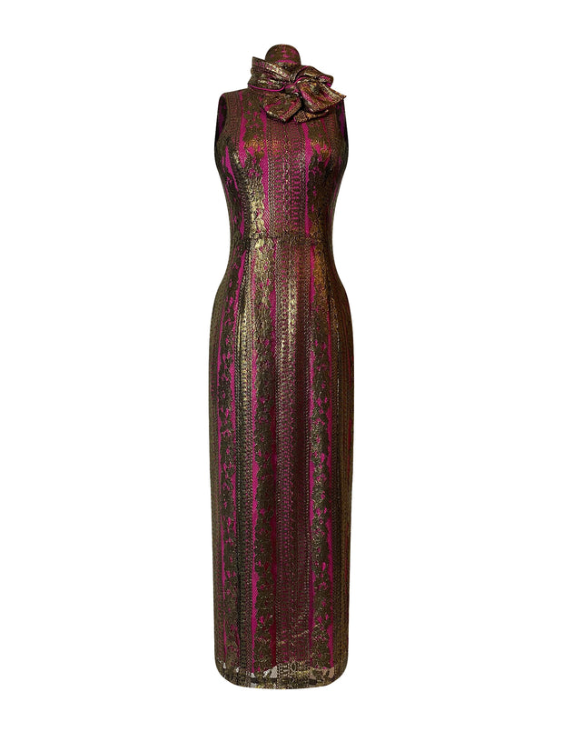 Front of gold lace sheath dress with bow and neck and v-back
