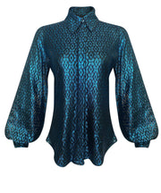 Front of teal lace button down shirt with blouson sleeves