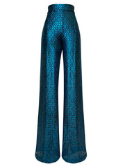 Front of teal lace high waist wide leg pants