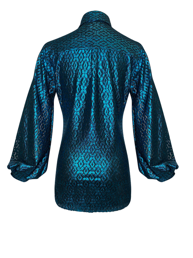 Back of teal lace button down shirt with blouson sleeves