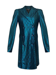 Front of teal lace double breasted jacket with jewel button closure
