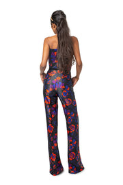 Back of model wearing red floral Lynn bootcut pants