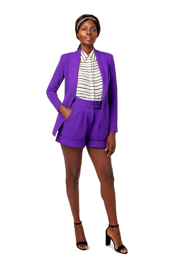 Front of model wearing purple Ayva boyfriend style blazer