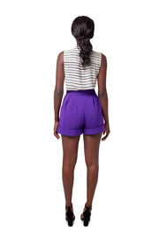 Back of model wearing purple Lizette wide leg shorts