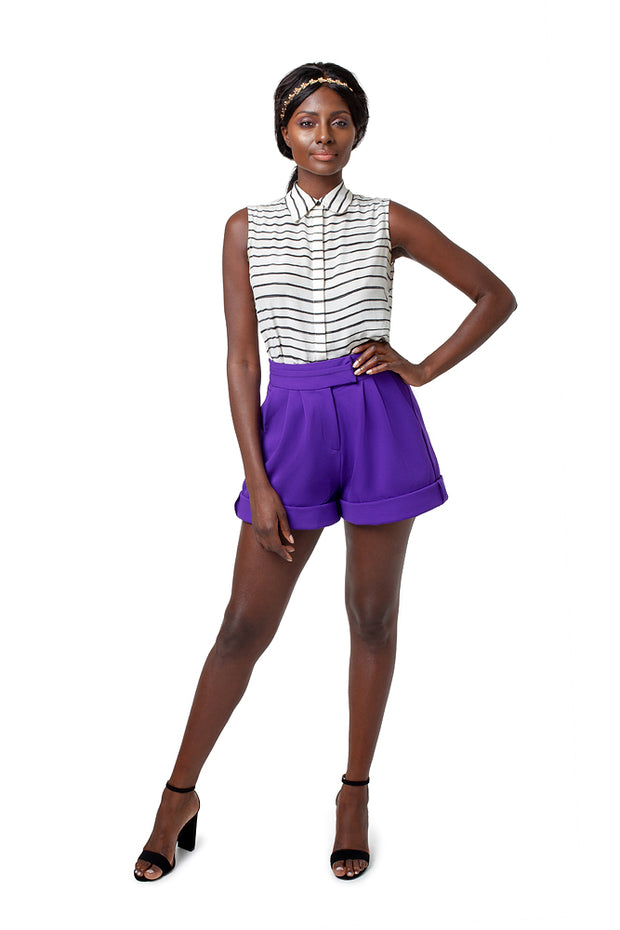 Front of model wearing purple Lizette wide leg shorts