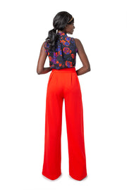 Back of model wearing red Liza wide leg pants