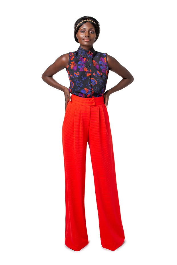 Front of model wearing red Liza wide leg pants