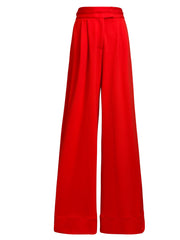 Front of red Liza wide leg pants