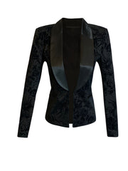 Front of black Brooke velvet tuxedo jacket