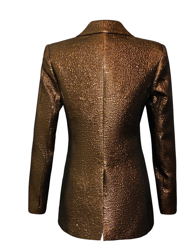 Back of bronze Ayvs boyfriend style blazer