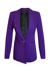 Front of purple Ayva boyfriend style blazer
