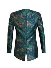 Back of teal print Becka cape sleeve jacket