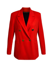 Front of red Ebi double breasted jacket with gold buttons