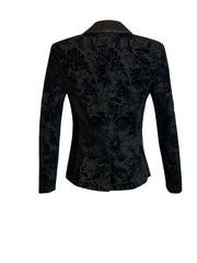Back of black Brooke velvet tuxedo jacket