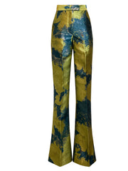Front of teal print Lynn boot cut pants