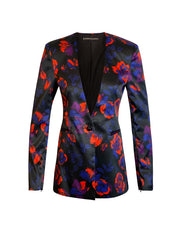 Front of red floral Becka cape sleeve jacket