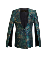 Front of teal print Becka cape sleeve jacket