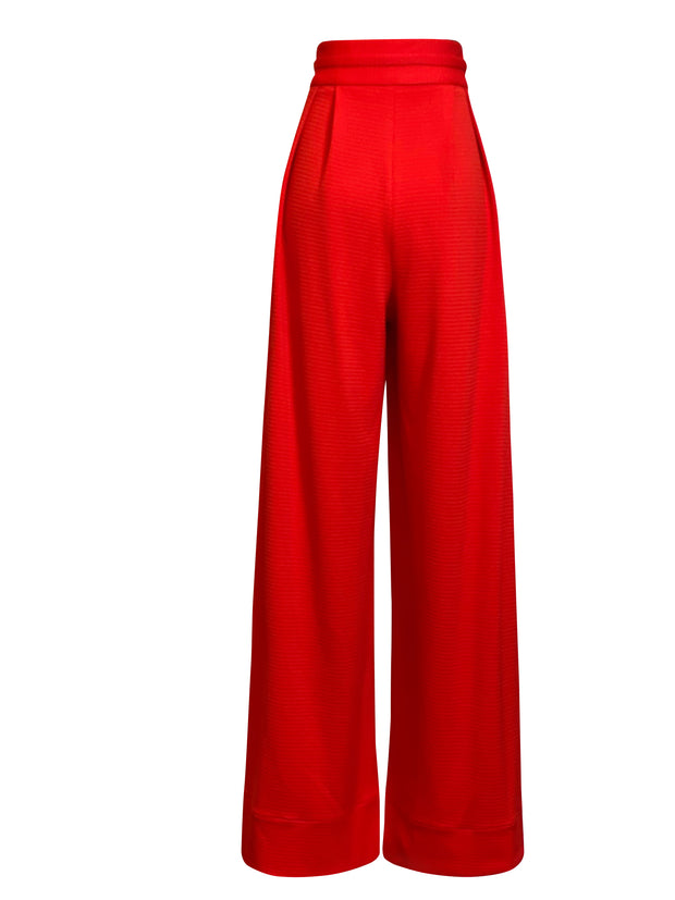 Back of red Liza wide leg pants