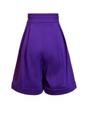 Back of purple Lizette wide leg shorts
