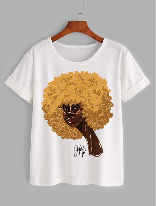 Front of white t-shirt featuring 2D version of Serena afro artwork by Taylor Ramsie