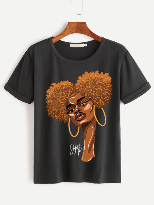 Front of black t-shirt featuring 2D version of Naomi afro puff artwork by Taylor Ramsie
